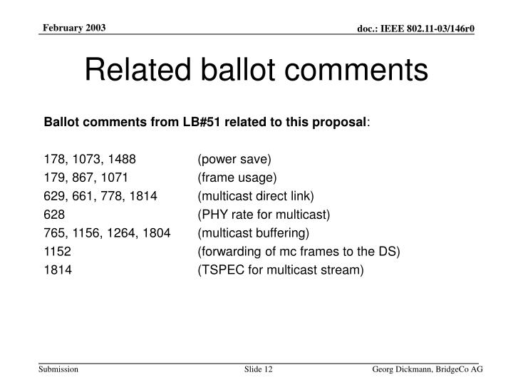 Related ballot comments