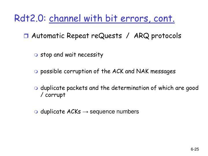 Automatic Repeat reQuests  /  ARQ protocols