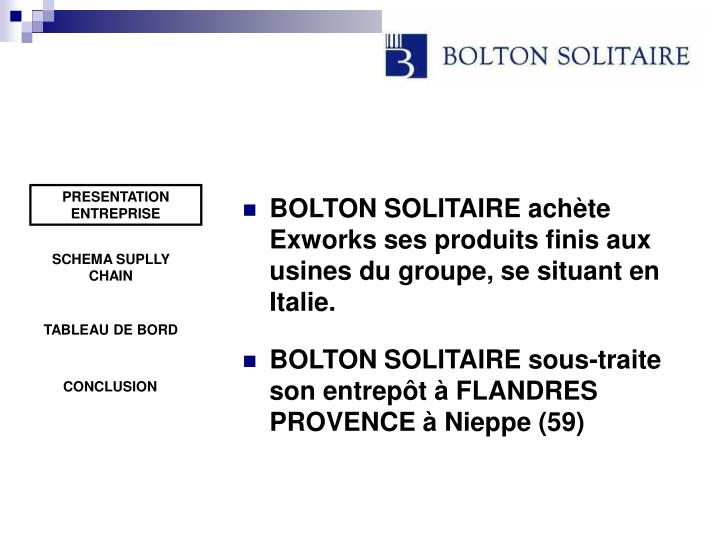 BOLTON SOLITAIRE achète Exworks ses produits finis aux usines du groupe, se situant en Italie.
