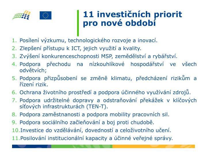 11 investičních priorit