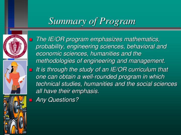 Summary of Program