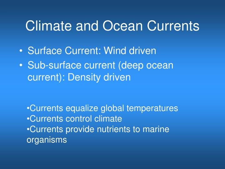 climate and ocean currents n.