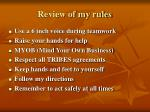 review of my rules