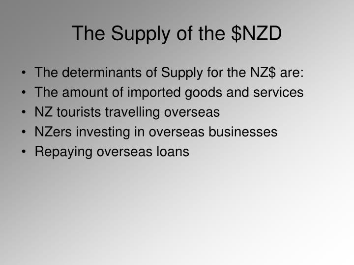 The supply of the nzd