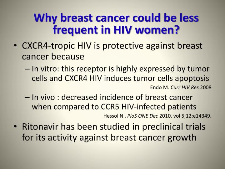 Why breast cancer could be less frequent in HIV women?