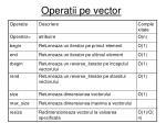 operatii pe vector