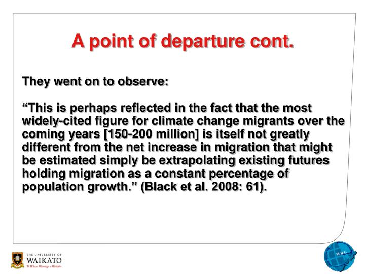 A point of departure cont