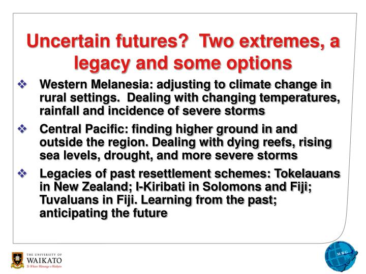 Western Melanesia: adjusting to climate change in rural settings.  Dealing with changing temperatures, rainfall and incidence of severe storms
