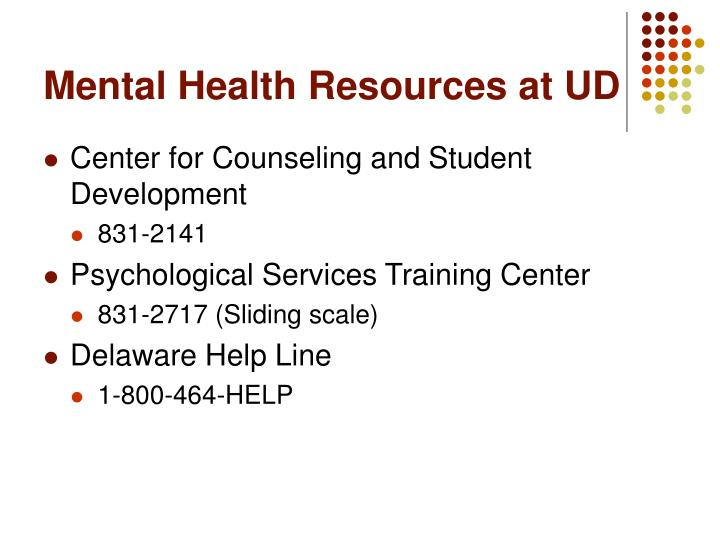 Mental health resources at ud