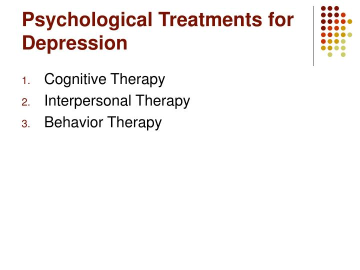 Psychological Treatments for Depression