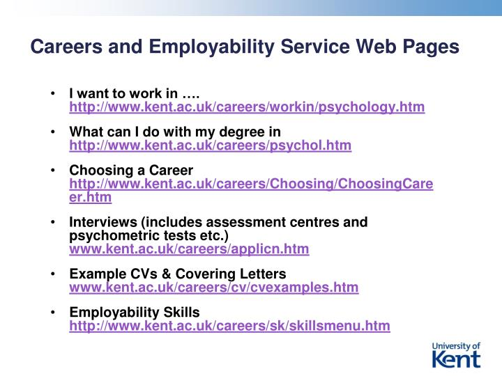 Careers and Employability Service Web Pages