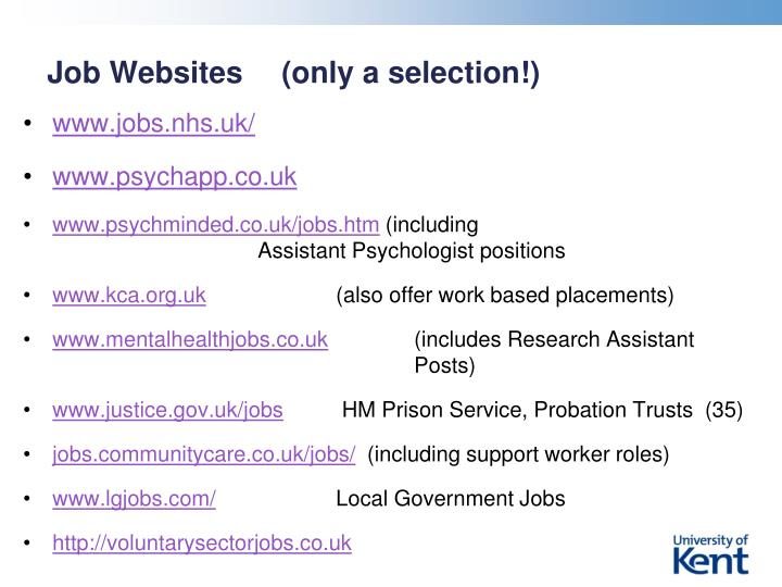 Job Websites  	(only a selection!)