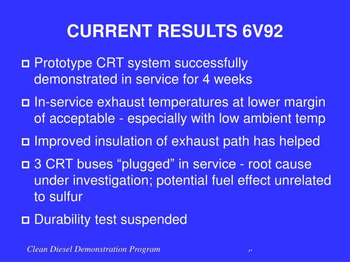 CURRENT RESULTS 6V92