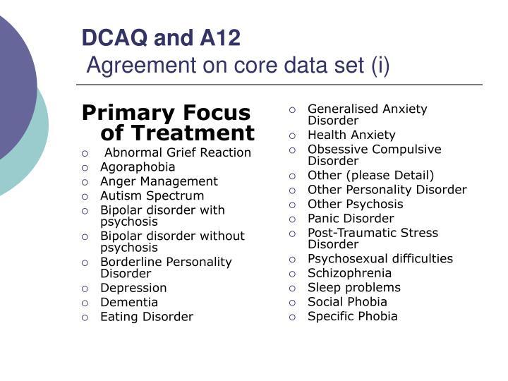 Primary Focus of Treatment
