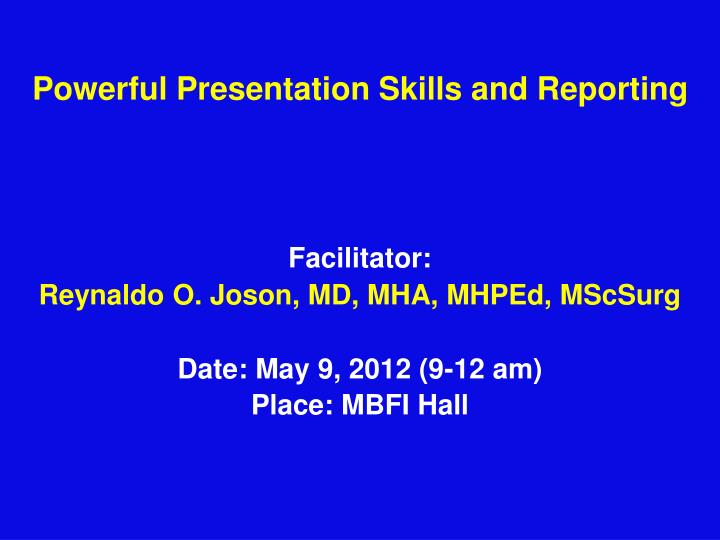 powerful presentation skills and reporting n.