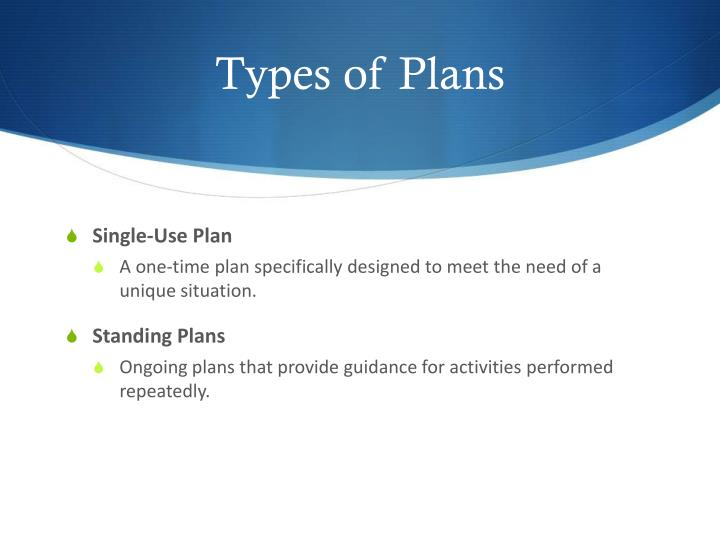 types of standing plans