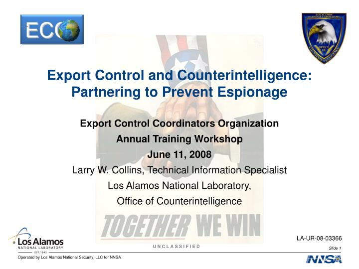 export control and counterintelligence partnering to prevent espionage n.