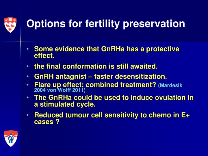 Options for fertility preservation
