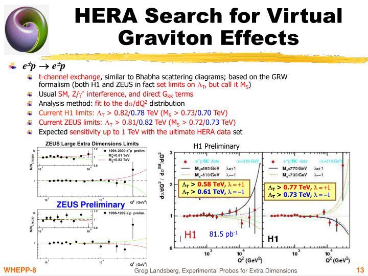 HERA Search for Virtual Graviton Effects