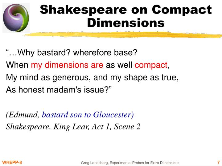 Shakespeare on Compact Dimensions