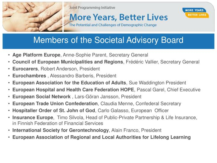 Members of the Societal Advisory Board