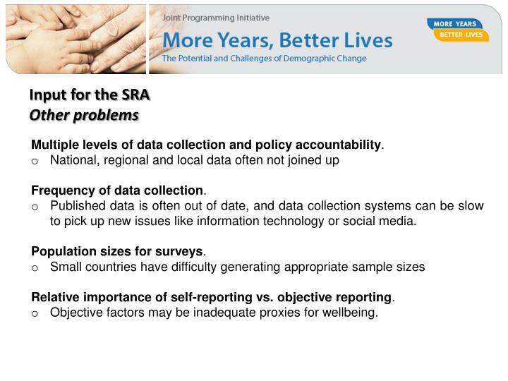 Input for the SRA