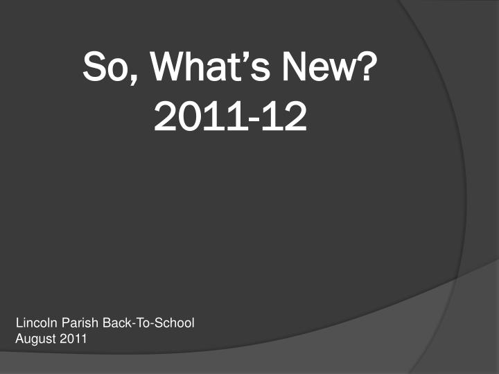 so what s new 2011 12 n.