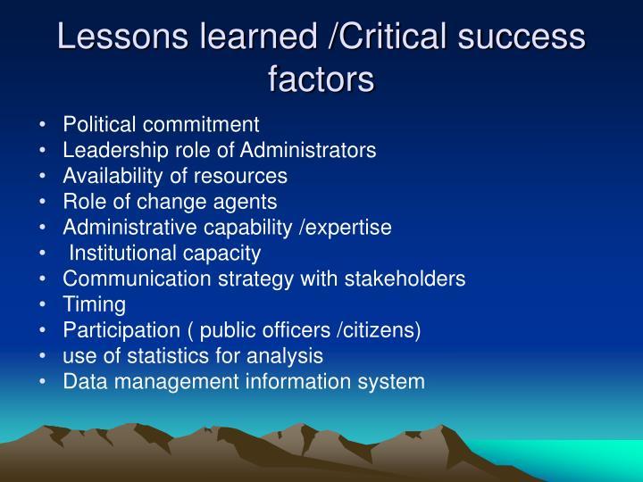 Lessons learned /Critical success factors