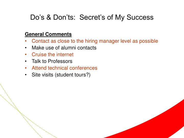 Do's & Don'ts:  Secret's of My Success