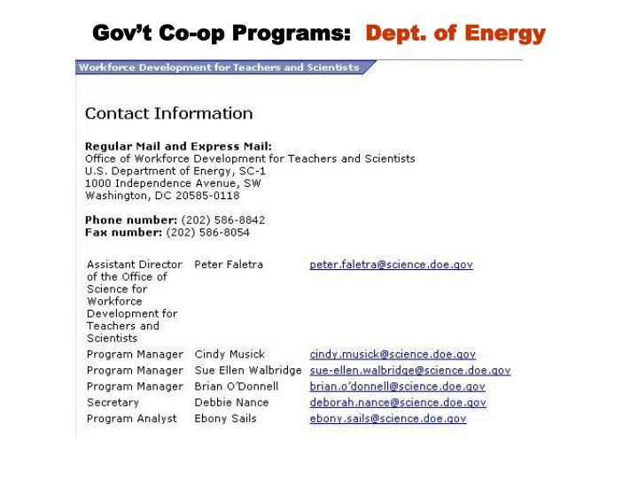 Gov't Co-op Programs: