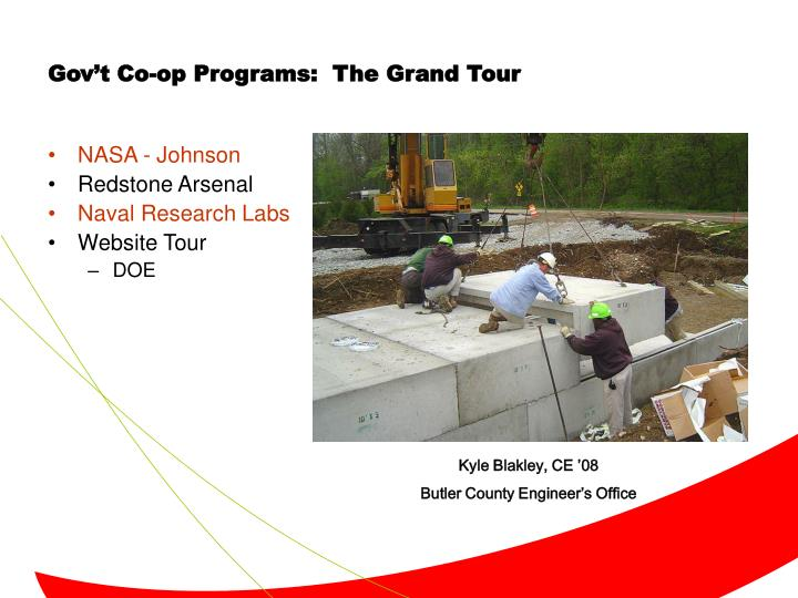 Gov't Co-op Programs:  The Grand Tour