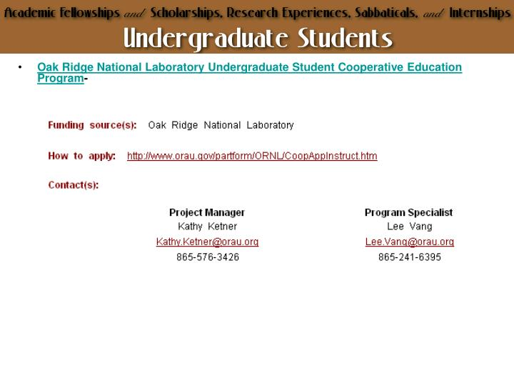 Oak Ridge National Laboratory Undergraduate Student Cooperative Education Program