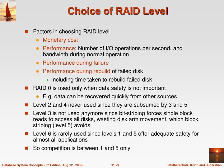 Choice of RAID Level
