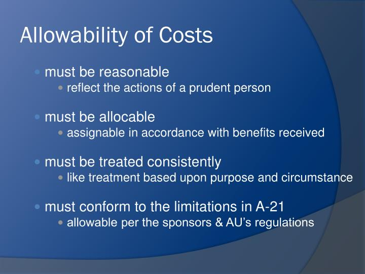 Allowability of Costs