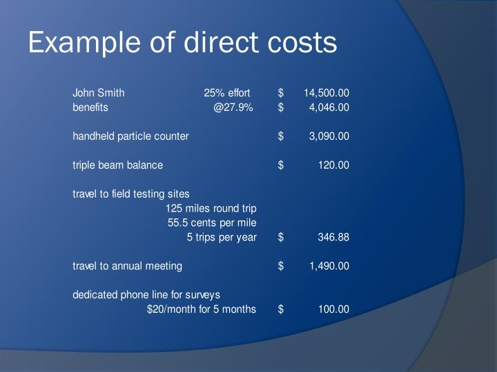 Example of direct costs