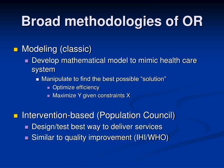 Broad methodologies of OR