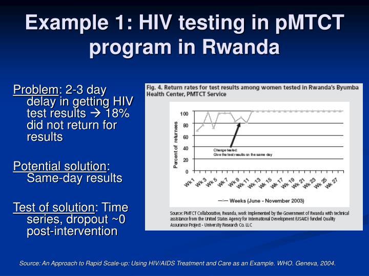 Example 1: HIV testing in pMTCT program in Rwanda