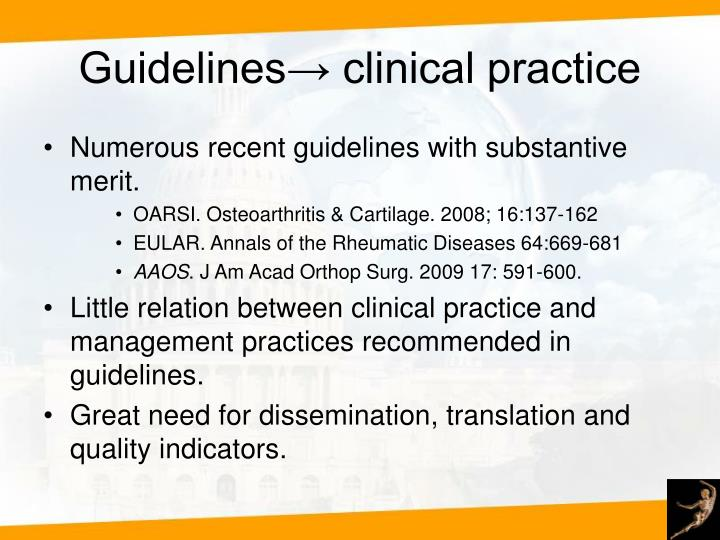 Guidelines→ clinical practice