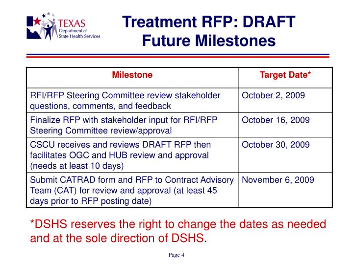 Treatment RFP: DRAFT