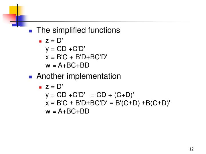 The simplified functions