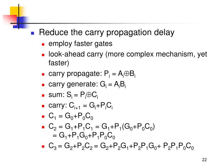 Reduce the carry propagation delay