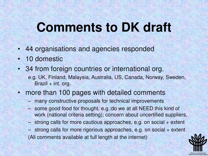 Comments to DK draft