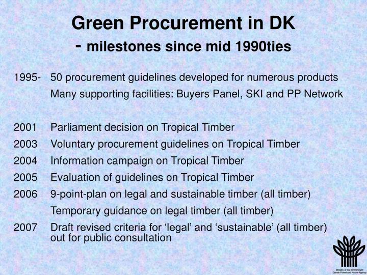 Green procurement in dk milestones since mid 1990ties