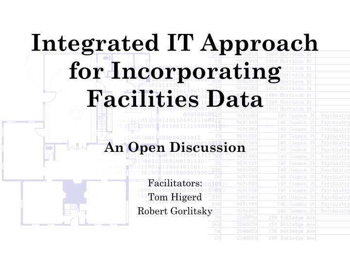 integrated it approach for incorporating facilities data n.