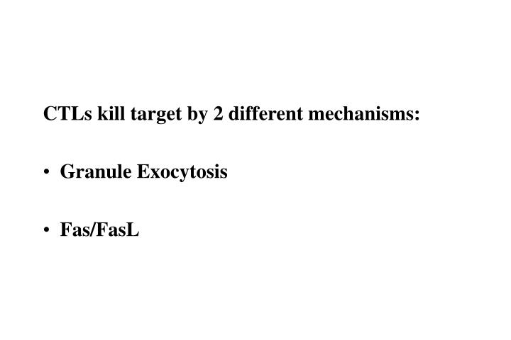 CTLs kill target by 2 different mechanisms: