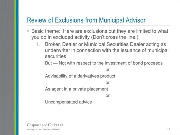 Review of Exclusions from Municipal Advisor