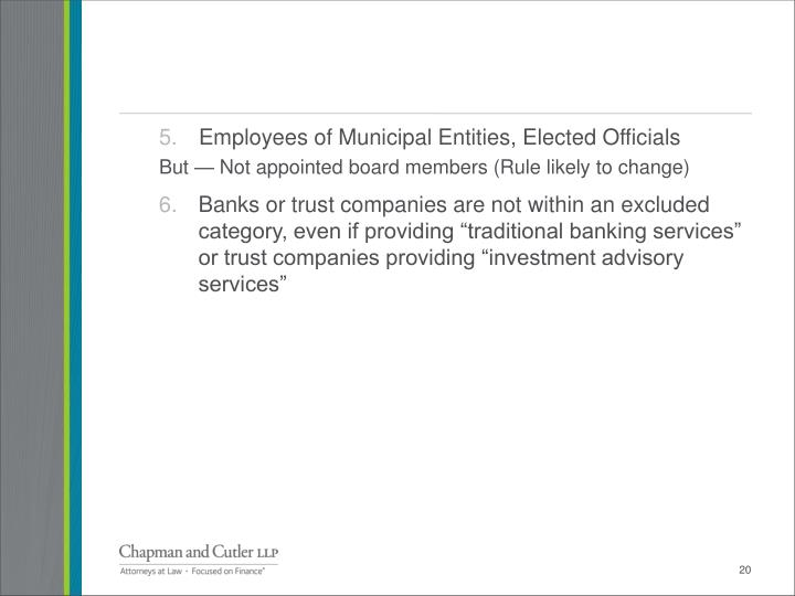 Employees of Municipal Entities, Elected Officials