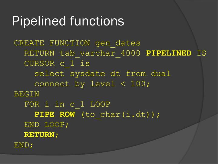 Pipelined functions