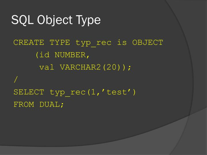SQL Object Type