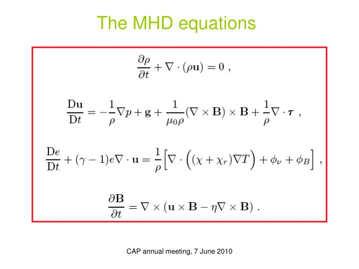 The MHD equations